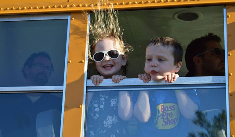 Nini Bambini - First New Hampshire milk depot celebration - kids on bus
