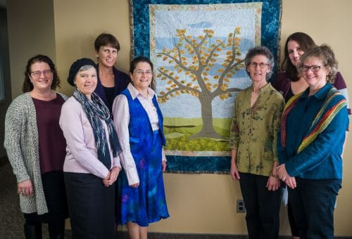 Group at the memorial quilt dedication
