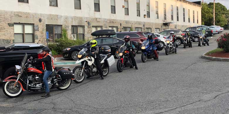 Bikers arrive for orientation