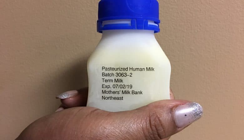 Bottle of donor milk