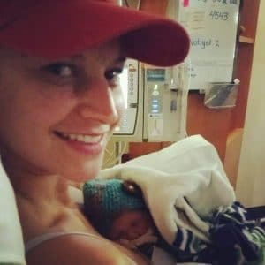 Andrea with baby Ryan in the NICU