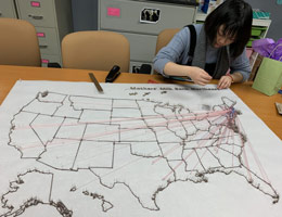 Volunteer design student and milk flows map 3